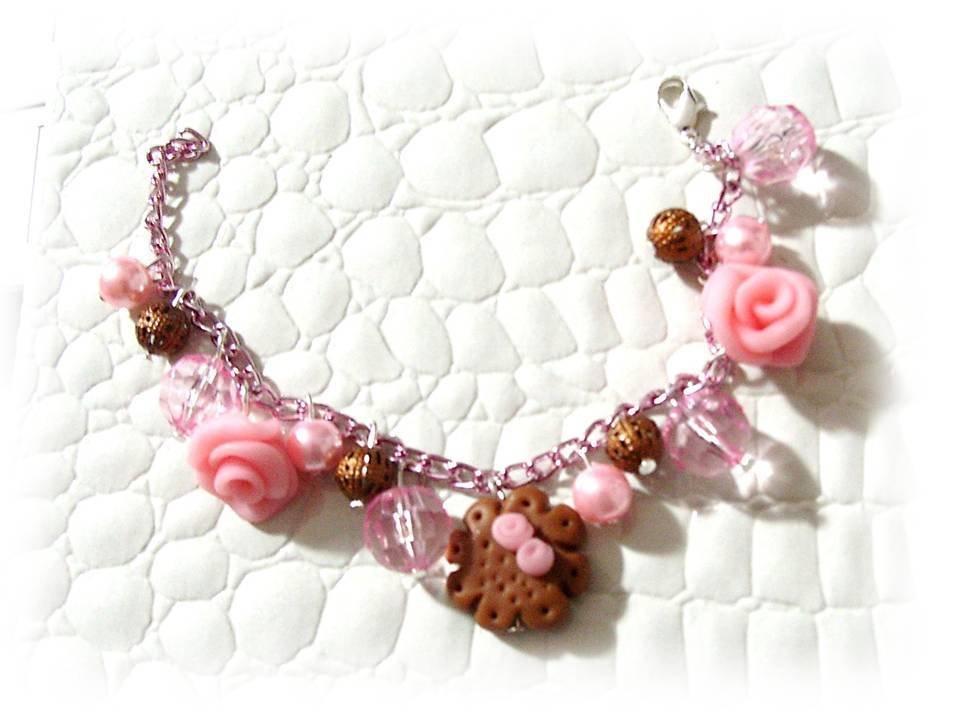 Bracciale rose biscotto-fimo