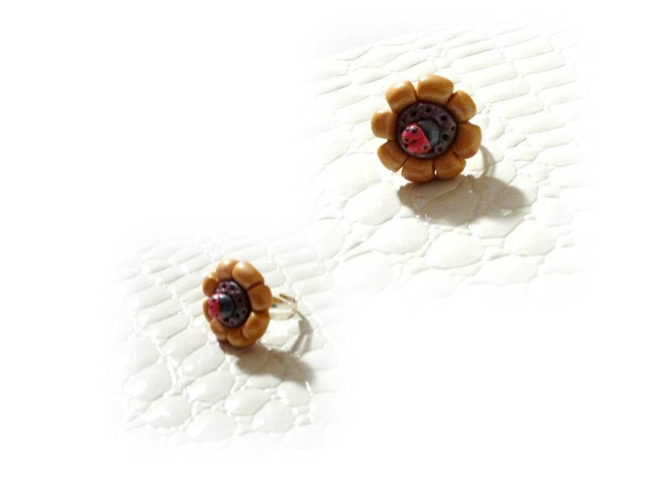 Anello girasole coccinella- fimo
