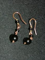 orecchini rame e perline