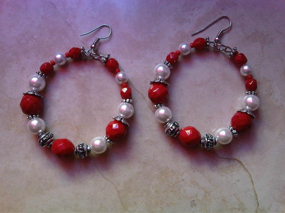 Orecchini perle (bianche e rosse) e argentoni