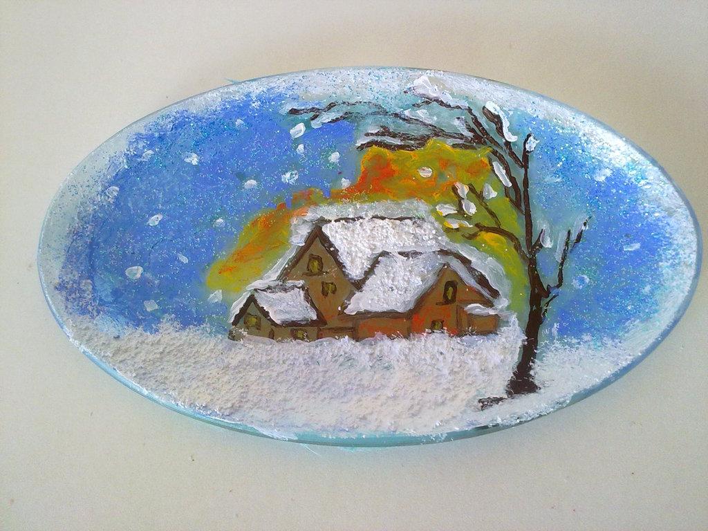 Piatto ovale piccolo dipinto a mano