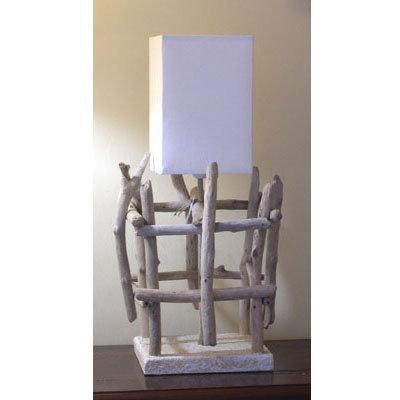 Luce da tavolo   GABBIA con bois flotté fatto a mano