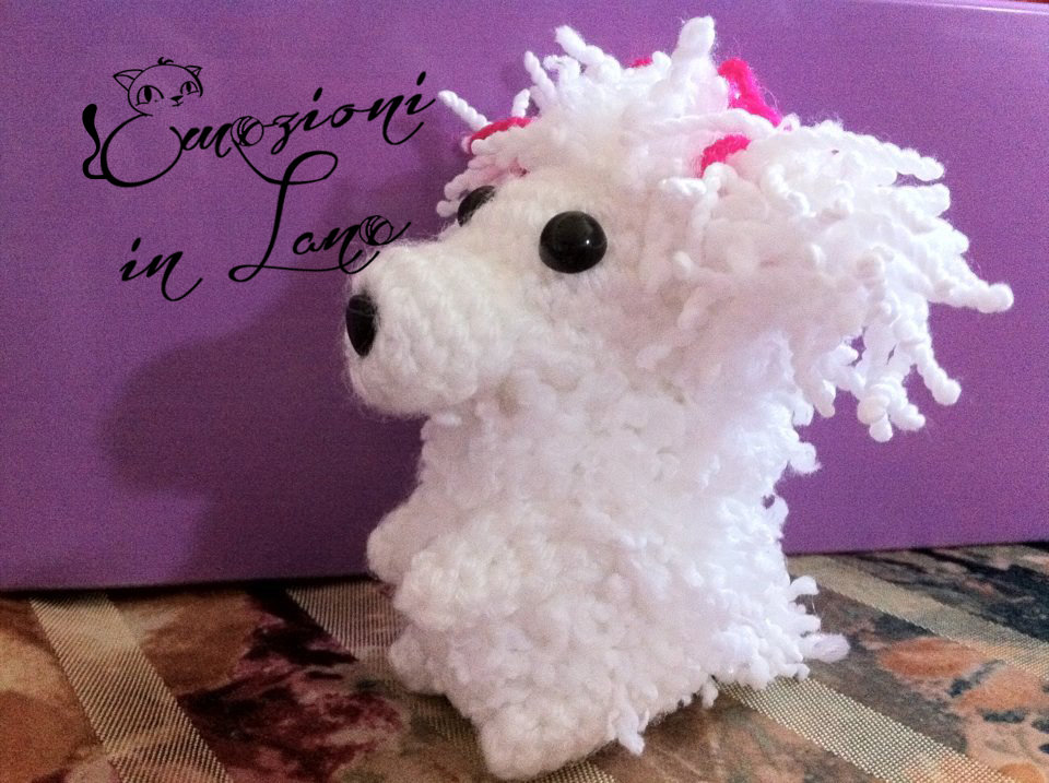 barboncino bianco all'uncinetto - white poodle crochet