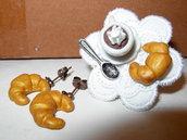 anello + orecchini cornetti e cioccolata con la panna
