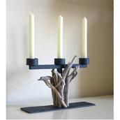 Porta candele  ROMAN II con bois flotté fatto a mano