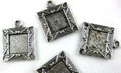 cammeo charms argento tibetano 18mm lotto da 3 pezzi