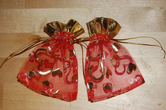 sacchetti 10pcs organza 12x9cm rosso cuore oro sacchetto