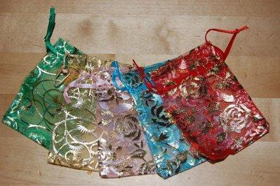 10 sacchetti organza 9x7cm colori misti sacchetto