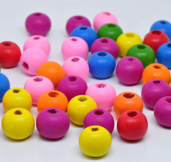 10 perle in legno tonde 9x8mm kawaii pucciose pastello
