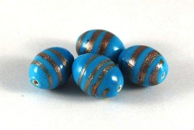 Lotto 2 perle in ceramica azzurre bronzo 2 cm