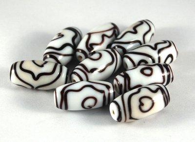 Lotto 2 perle in ceramica bianche nere 3 cm