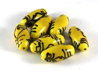 Lotto 2 perle in ceramica giallo nero 3 cm