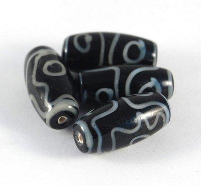 Lotto 2 perle in ceramica nere bianche 3 cm