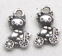 charms hello kitty bici argento tibetano 1cm lotto da 5
