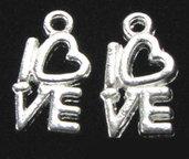 lotto da 5 charms simbolo amore argento tibetano 1cm