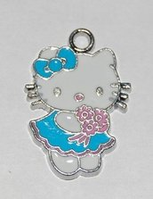 Hello kitty charms ciondolo smaltato azzurra fiori rosa