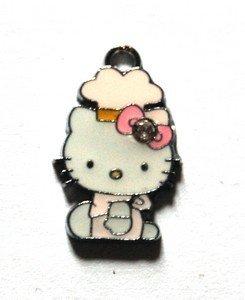 Hello kitty charms ciondolo smaltato cappellino rosa