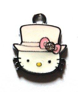 Hello kitty charms ciondolo smaltato cappello rosa