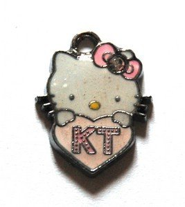 Hello kitty charms ciondolo smaltato cuore rosa chiaro