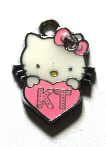 Hello kitty charms ciondolo smaltato cuore rosa scuro