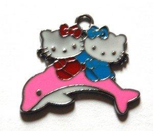 Hello kitty charms ciondolo smaltato delfino rosa