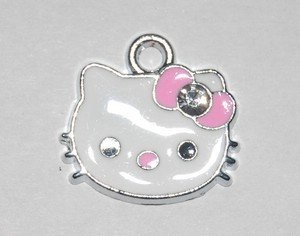 Hello kitty charms ciondolo smaltato faccina brillanti