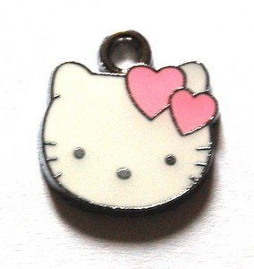 Hello kitty charms ciondolo smaltato faccina con cuori