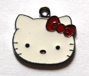 Hello kitty charms ciondolo smaltato faccina fiocco