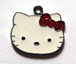 Hello kitty charms ciondolo smaltato faccina fiocco