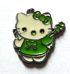 Hello kitty charms ciondolo smaltato fatina verde
