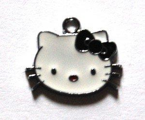 Hello kitty charms ciondolo smaltato fiocchetto nero