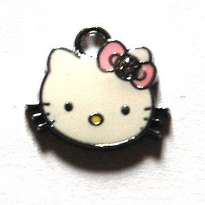 Hello kitty charms ciondolo smaltato fiocchetto rosa