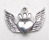 lotto 4 charms cuore alato 2,5 cm