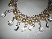 Collana argento perle crema e cristalli - Bridal or Gala a Vintage Crystals Swaroski Rhineston and Pearls Silver chain OOAK Necklace