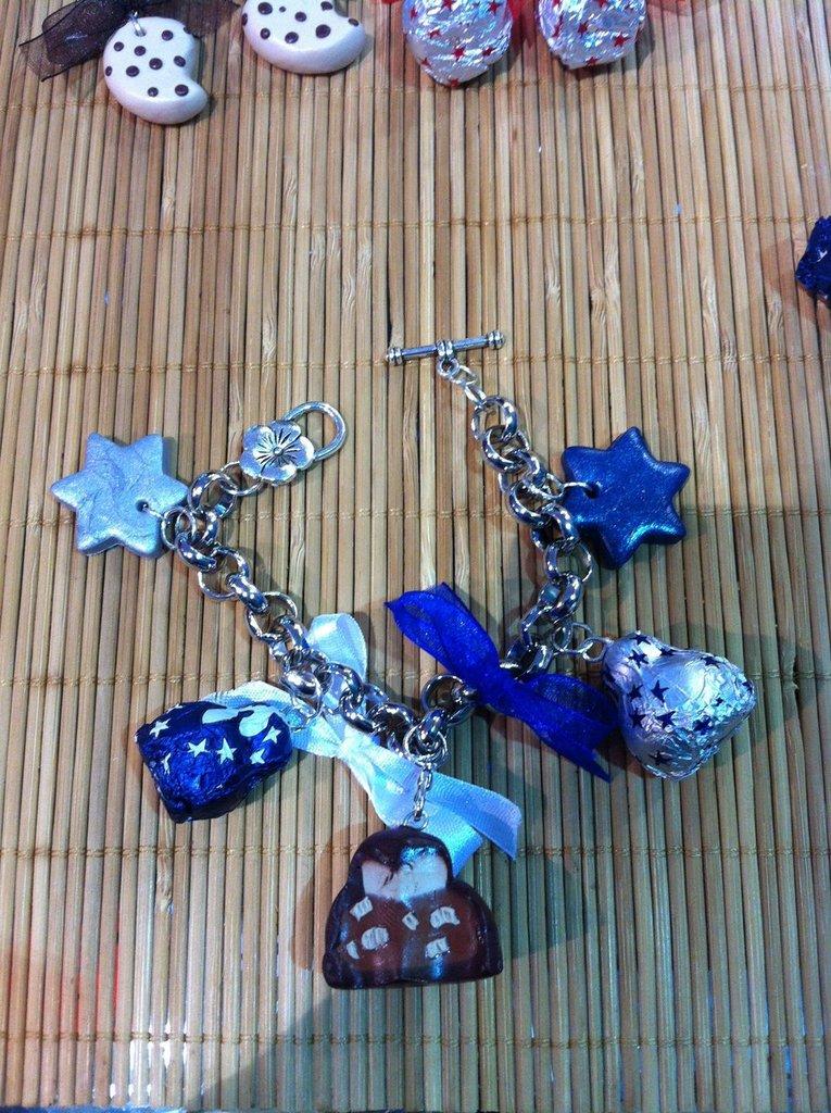 Bracciale Baci Perugina bianchi (carta blu) + classico argento