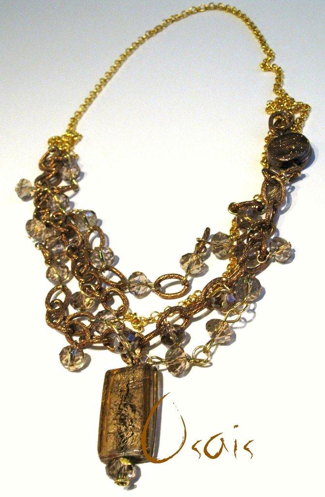 Collana catena oro e bronzo