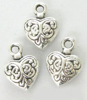 lotto 5 charms cuore intarsiato 1 cm