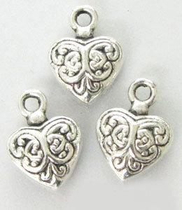 lotto 5 charms cuore intarsiato 1 cm