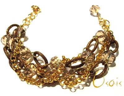 Bracciale con cristalli e catena oro e bronzo