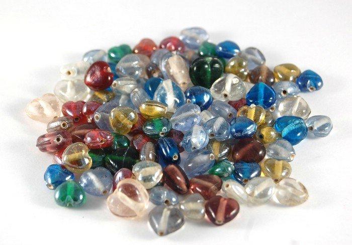 Lotto 10 perle in vetro di murano cuore colori misti