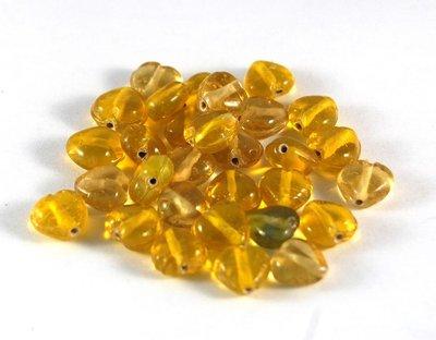 Lotto 4 perle in vetro di murano cuore giallo