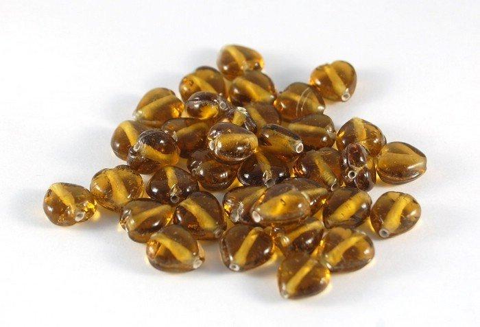 Lotto 4 perle in vetro di murano cuore marrone