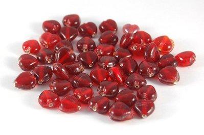 Lotto 4 perle in vetro di murano da 1 cm cuore rosso