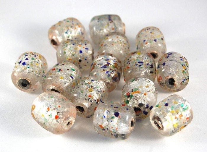 Lotto 2 perle in vetro cilindro bombato 1,8 cm