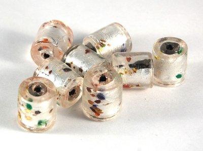Lotto 2 perle in vetro di murano cilindro 1,8cm argento