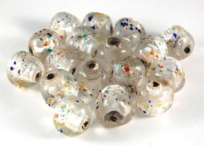 Lotto 2 perle in vetro di murano triangolo 1,8 cm