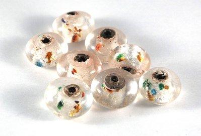 Lotto 2 perle in vetro sfera schiacciata 1,8 cm argento