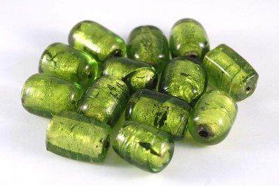 Lotto 13 perle forme varie verdi vetro di murano 2 cm
