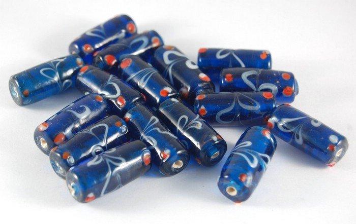 Lotto 2 perle a tubo blu vetro di murano 2,5 cm