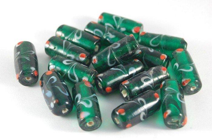 Lotto 2 perle a tubo verdi vetro di murano 2,5 cm